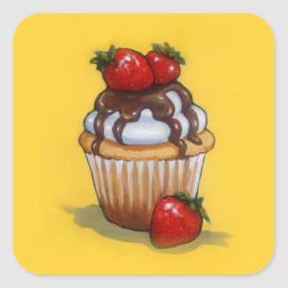 Cupcake Painting, Chocolate, Strawberries, Art Square Sticker