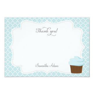 Cupcake Party Thank You Card (Blue) 9 Cm X 13 Cm Invitation Card