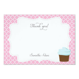 "Cupcake Party Thank You Card (Pink) 3.5"" X 5"" Invitation Card"