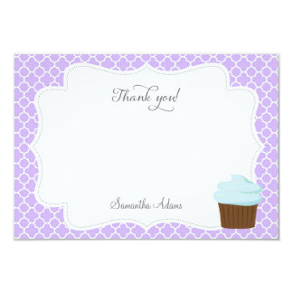 "Cupcake Party Thank You Card (Purple) 3.5"" X 5"" Invitation Card"