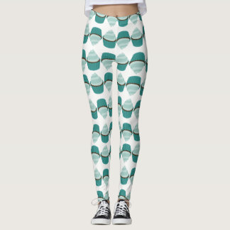 Cupcake Pattern Mint Green Chocolate Girly Cupcake Leggings