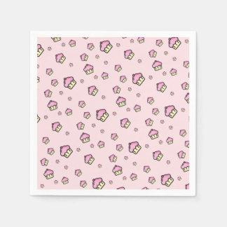 CUPCAKE PATTERN Pink Paper Napkins