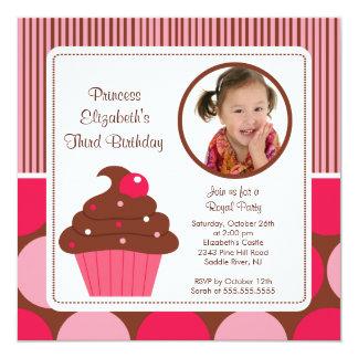 "Cupcake Photo Birthday Invitation Cherry Pink Dots 5.25"" Square Invitation Card"
