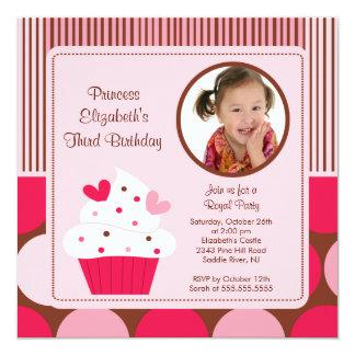 "Cupcake Photo Birthday Invitation Pink Polka Dots 5.25"" Square Invitation Card"