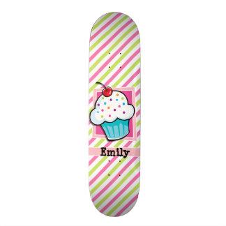 Cupcake; Pink & Lime Green Stripes Skate Board