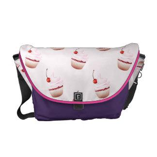 cupcake pink purple messenger bag