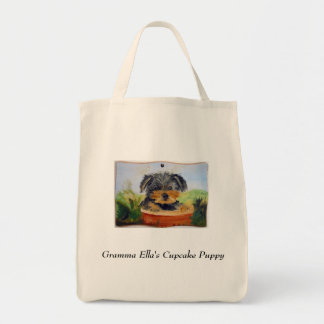 Cupcake Puppy Grocery Tote Bag