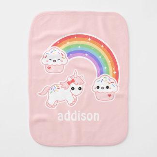 Cupcake Rainbow Unicorn Burp Cloth