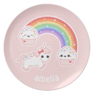 Cupcake Rainbow Unicorn Plate