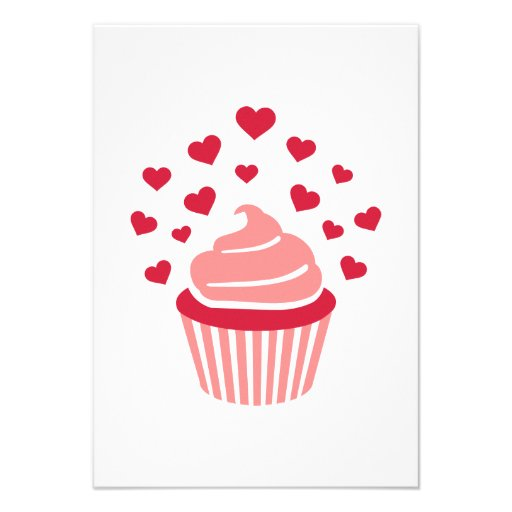 Cupcake red hearts invitations