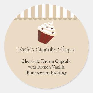 Cupcake Round Product Label, Soft Mocha Stripes Classic Round Sticker