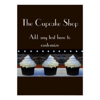 Cupcake Shop Black and Brown Poster