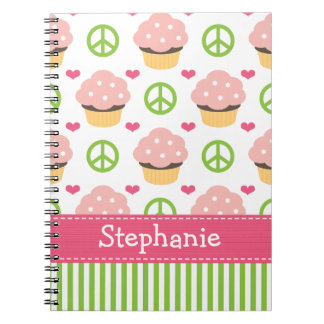Cupcake Spiral Notebook Journal Peace Love