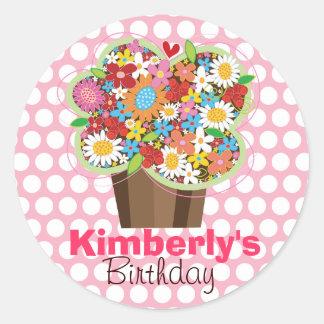 Cupcake Spring Flowers Birthday Gift Label Sticker