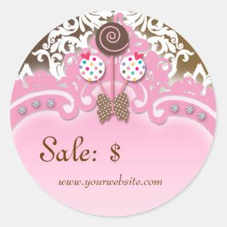 Cupcake Sticker Price Tag Crown Damask Pink