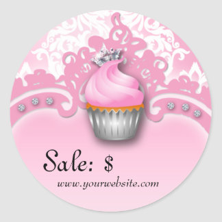 Cupcake Sticker Price Tag Crown Damask Pink White