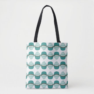 Cupcake Sweet Mint Green Swirly Frosted Birthday Tote Bag