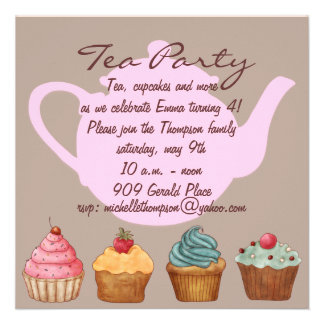 Cupcake Tea Party Birthday Invitation