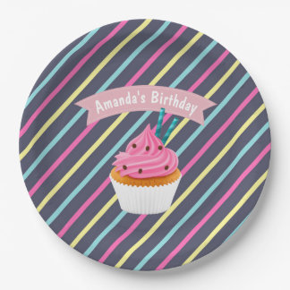 Cupcake themed Birthday Party personalised Paper Plate