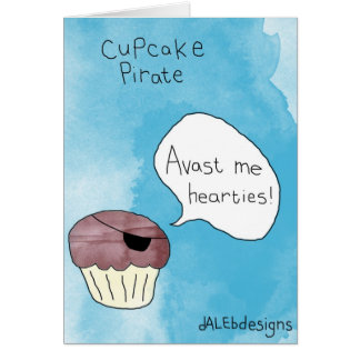 Cupcake themed greetings card - 'Cupcake Pirate'