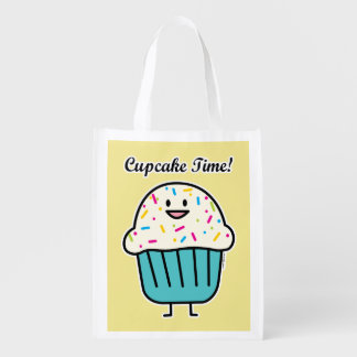 Cupcake Time with sprinkles sweet dessert fondant Reusable Grocery Bag