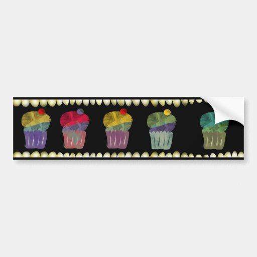 Cupcake watercolor Bumper Sticker