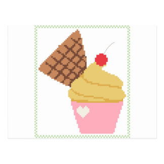 cupcake with a cherry on top postcard