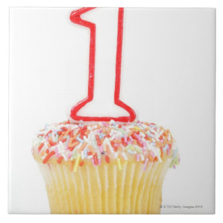 Cupcake with a numbered birthday candle 10 ceramic tiles