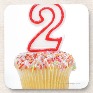 Cupcake with a numbered birthday candle 6 coaster