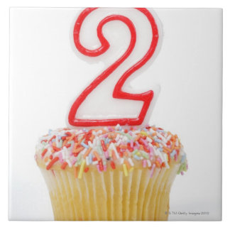 Cupcake with a numbered birthday candle 6 ceramic tiles