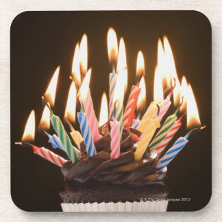 Cupcake with birthday candles drink coaster
