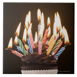 Cupcake with birthday candles tiles