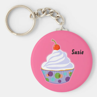 Cupcake with cherry basic round button key ring