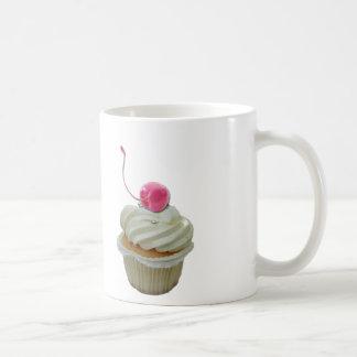Cupcake with cherry basic white mug