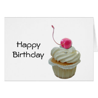Cupcake with cherry greeting card