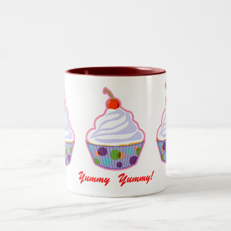 Cupcake with cherry mugs