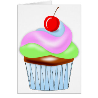 Cupcake With Cherry On Top Greeting Cards
