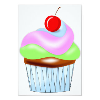 Cupcake With Cherry On Top Invitations