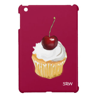 Cupcake with Cherry on Top  Optional Monogram iPad Mini Cover