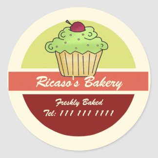 Cupcake With Cherry on Top Round Sticker