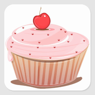 Cupcake with Cherry on Top Square Sticker
