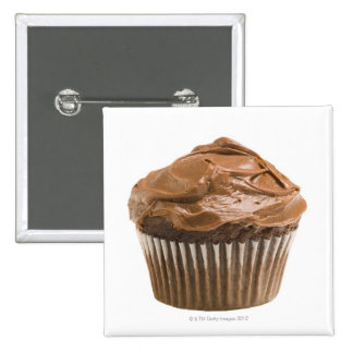 Cupcake with chocolate icing, studio shot 15 cm square badge