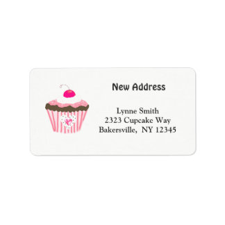 Cupcake With Heart New Address Address Label