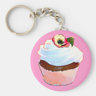 Cupcake with Pansy Art Design Key Chain