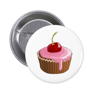 Cupcake with Pink Frosting and Cherry On Top Pin