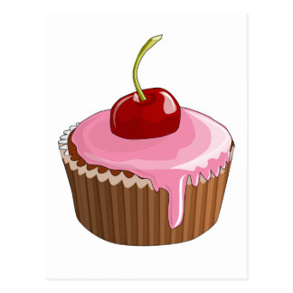 Cupcake with Pink Frosting and Cherry On Top Postcard