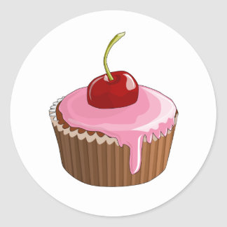 Cupcake with Pink Frosting and Cherry On Top Round Sticker