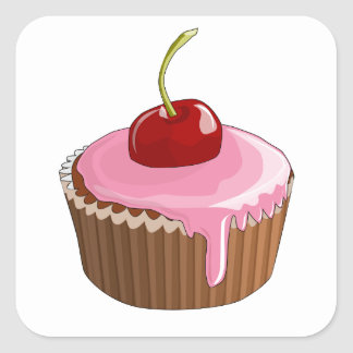 Cupcake with Pink Frosting and Cherry On Top Square Sticker