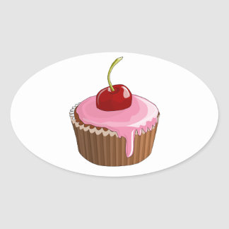 Cupcake with Pink Frosting and Cherry On Top Oval Stickers