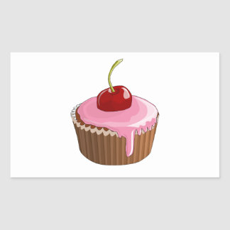 Cupcake with Pink Frosting and Cherry On Top Rectangular Sticker